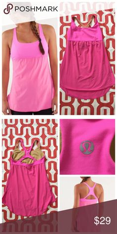 Lululemon Venus tank Pow pink (I believe). Great preloved condition. Luxtreme with Lycra bust. Ultralight Swift fabric flowy body. Side slits. Medium coverage. Medium support. Does not include cup inserts. No trades. No PayPal. lululemon athletica Tops Tank Tops