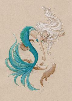 Fantasy Mermaid Art, Sea Otter Print, Cute Little Mermaid Painting, Whimsical Girls Room Decor, Mermay Drawing Mermaid Tattoo Designs, Mermaid Drawings, Mermaid Tattoos, Art Drawings, Little Mermaid Painting, Little Mermaid Art, Mermaid Fairy, Theme Tattoo, Hp Tattoo