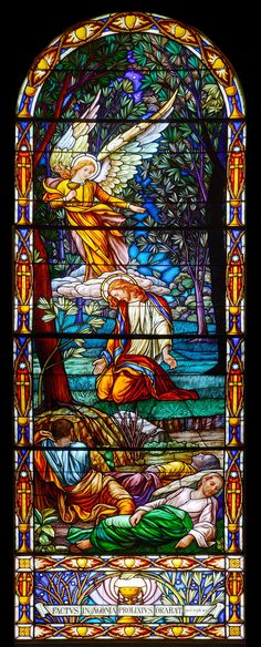 Jesus praying in the garden at Gethsemani Stained Glass Church, Stained Glass Angel, Stained Glass Windows, Graphisches Design, Glass Design, Religious Icons, Religious Art, Leaded Glass, Mosaic Glass