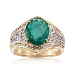 3.10 Carat Emerald and .51 ct. t.w. Diamond Ring in 14kt Yellow Gold