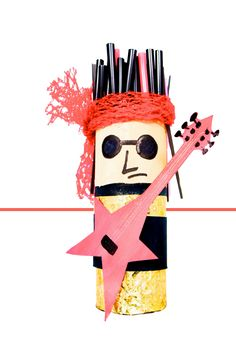 Rock 'n Roll with this Rock Star Toilet Paper Roll. Easy kids crafts with a toilet roll, glitter wrapping paper, drinking straws and a fruit bag