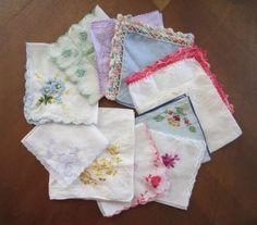 11 Vintage Handkerchiefs $35