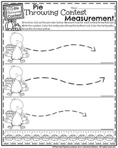 Fall Math Worksheets for November - Pie Throwing Contest Measurement. Thanksgiving Worksheets, Thanksgiving Writing, Personajes Paw Patrol, Kindergarten Math Worksheets, Informational Writing, Rhyming Words, Free Printable Worksheets, Color Activities, Toddler Learning