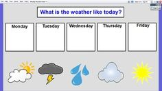FREE ActivInspire Weekly Weather Chart for Promethean Board. Great for circle time!