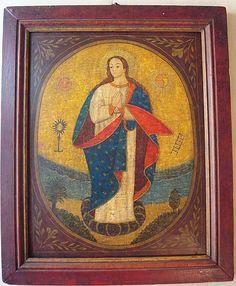 """Retablo """"Inmaculada Concepción"""" colonial venezolano principios siglo XIX."""