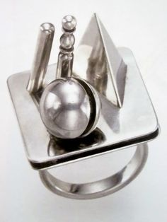 """Lucio Del Pezzo - """"A Rhodium Treated Silver Ring"""", 10/50, Executed by GEM, Milan, 1968"""