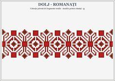 Semne Cusute: romanian traditional motifs - OLTENIA, Dolj-Romana... Folk Embroidery, Embroidery Stitches, Embroidery Patterns, Stitch Patterns, Knitting Designs, Knitting Patterns, Beaded Cross Stitch, Stitch Design, Traditional Outfits