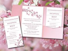 "DIY Pocketfold Wedding Invitation ""Cherry Blossom"" Printable Wedding Template Instant Download Blush Pink Wedding Invitation Pocket Fold Set by PaintTheDayDesigns on Etsy"