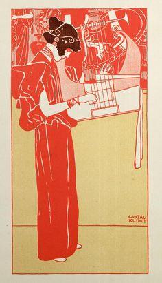 Musik (lithograph), 1901. Gustav Klimt. Fine Art Print.