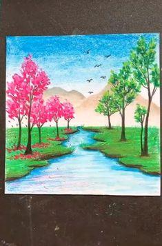 Crayon Painting, Canvas Painting Tutorials, Diy Canvas Art, Painting & Drawing, Crayon Art, Drawing Drawing, Oil Pastel Drawings Easy, Oil Pastel Paintings, Oil Pastel Art