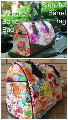 Blanche Barrel Bag sewing pattern. A stunning, rockabilly-inspired bag with a classic and timeless shape. Convenient exterior slip pockets, a zippered lining pocket, and a removable crossbody strap make it as functional as it is stylish. Instructions are