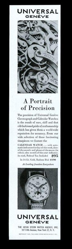 1947 Universal Geneve Radium Dial Moonphase Watch Photo Vintage Print Ad. #universal #geneve #precision #moonphase #watch #watches #vintage #ads #stawc Old Watches, Modern Watches, Vintage Watches, Watches For Men, Vintage Ads, Vintage Prints, Vintage Photos, Moonphase Watch, Watch Drawing