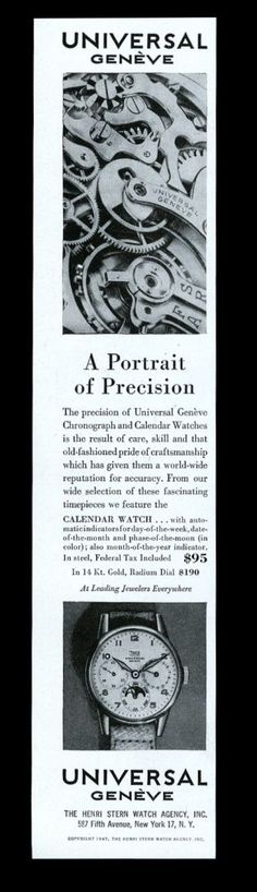 1947 Universal Geneve Radium Dial Moonphase Watch Photo Vintage Print Ad. #universal #geneve #precision #moonphase #watch #watches #vintage #ads #stawc