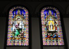 There were pretty stained glass windows inside Basilica Cathedral of St. John the Baptist in St. Stained Glass Art, Stained Glass Windows, Mosaic Glass, Newfoundland Canada, Newfoundland And Labrador, Beautiful Islands, Beautiful Places, Church Windows, John The Baptist