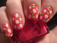 Roses Nail Art Manicure! Follow at paintthatnail.com