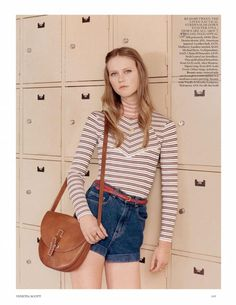 Denim and seventies stripes in Vogue - (Photo by Venetia Scott)