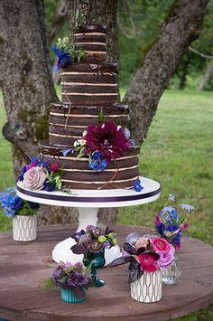 Navy and Cranberry Wedding Cake