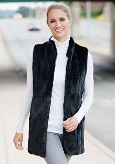 Black Mink Faux Fur Every-Wear Vest | Fabulous-Furs