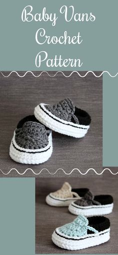 Vans style crochet baby shoe pattern. These are adorable! #ad