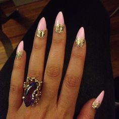 #light #pink #gold #glitter #stiletto #nail #polish #nails #manicure #beauty