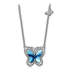 LadyColour Blue Butterfly Fairy Pendant Necklace Swarovski Crystals Jewelry for Women Teen Girls Christmas Gifts Birthday Gifts for Daughter Girlfriend Wife Best Friend ** You can get more details by clicking on the image. (This is an affiliate link)