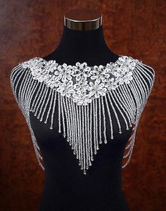 Wedding Bridal Crystal Pearls Lace Flowers Shoulder Body Chain Necklace Jewelry