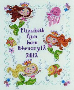 Amazon.com: Bucilla Baby 45719 Counted Cross Stitch Birth Record Kit, Mermaid Bay: Arts, Crafts & Sewing $17