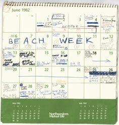 1982 calendar entrie