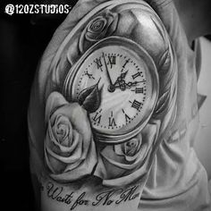 Brilliant black and grey pocket watch and roses tattoo by Kevin Soto. Music Tattoos, Back Tattoos, Forearm Tattoos, Sleeve Tattoos, Hip Tattoos Women, Tattoos For Women Small, Trendy Tattoos, Foo Dog Tattoo, Dog Tattoos