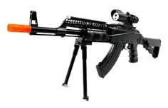 Spring Powered FPS-300 AK-47L RIS Assault Rifle Airsoft Gun with Bi-Pod Airsoft Rifle by AK. $29.99. Package Includes:      Spring Powered AK47L RIS Airsoft Rifle     Banana Clip/Magazine     Rear Stock     Folding Bi-Pod     Mock Scope     Starter Pack of BB's     Gun Sling. Save 40%!