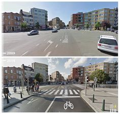 A main artery in Brussels, Belgium, gets a bike lane for safety.