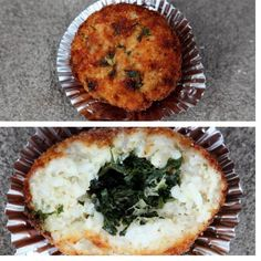 Spinach roasted garlic and fresh mozzarella in a provolone rice  our clients who visit us at the @ridgewoodmarket love these !! #arancini #riceballs #traditional AND #nonTraditional #homemade #handmade #freshtoOrder #madeWithLove #queens #statenisland #foodie #foodporn #goodeats #nom #italianfood #delicious #truffles #leahsitalianapples #sicilian #deepfried #goldenbrown #notyourNonnas #reinventingRiceballs #supportLocalBusiness #followyourdream #cheesy #eeeeeats #catering #foodilysm…