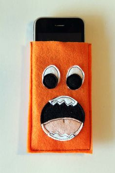Felt Orange Monster iphone/ipod Cozy by punkprojects on Etsy, $10.00