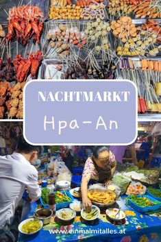 Die Umgebung von Hpa An ist eines der schönsten Ziele in Myanmar! Am Nachtmarkt bekommst du anch einem aufregenden Tag alles was dein Herz begehrt. Hpa An, Delicious Dishes, Environment, Yummy Food, Night, Heart, Easy Meals, Tips