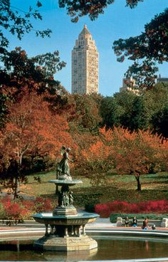 NYC. View of Carlyle Hotel from Central Park.