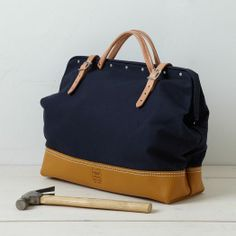 Heritage Leather Reinforced Mason Bag - Navy | west elm