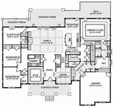 Floor Plan Main Level with bonus FROG (could it be bedrooms upstai… Floor Plan Main Level with bonus FROG (could it be bedrooms upstairs…hmmm? Southern House Plans, Ranch House Plans, Cottage House Plans, Dream House Plans, Modern House Plans, Small House Plans, My Dream Home, Dream Houses, Garage Floor Plans