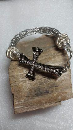 Titanium viking knit bracelet with cross closure