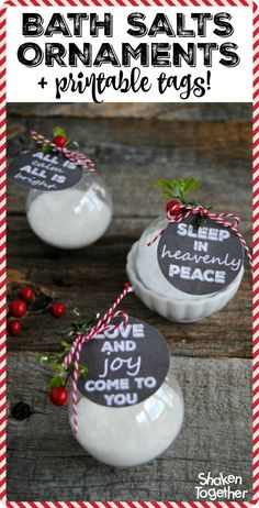 Bath Salts Ornaments filled with homemade bath salts are so thoughtful for holiday gift giving! 3 printable chalkboard tags included that coordinate with 3 scents of Young Living Essential oils!