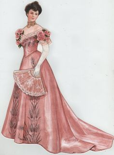 A personal paper doll wearing a pink Worth evening gown.  Rendering rich fabrics and details of existing antique clothes is a challenge I welcome.