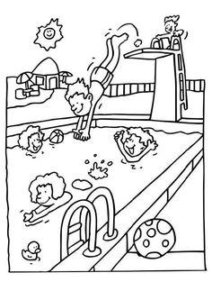 Malvorlage Schwimmbad. Bilder für Schule und Unterricht: Schwimmbad - Ausmalbild - Bild zum Ausmalen - Zeichnung. Abb. 11991.
