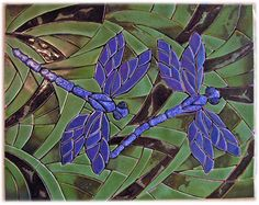 ceramic tile dragonflies, ceramic tile dragonfly stained glass design