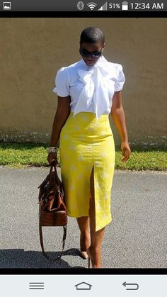 Yellow and white ensemble