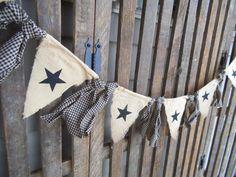 Primitif banderoles Garland rustique Stars par RagsandBerries