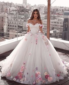Amazing Bright White Ball Gown with Gold Floral Lace Accents Made to Fit the Bar