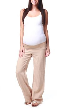 Ingrid and Isabel Maternity Linen Pant | Bebe | Pinterest