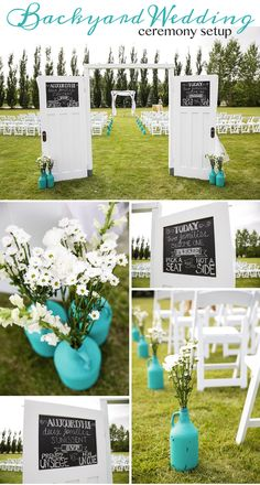 Backyard wedding ceremony set up. DIY Details and white wooden chars with…