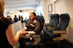 State Farm Insurance: About 30 members of the health and beauty media gathered in New York in 2009 to learn about the State Farm Insurance-sponsored 50 Million Pound Challenge. There, interactive elements engaged attendees. A set of airplane seats served as a prop to illustrate one challenge participant's story, and guests could step on the scale or climb stairs while wearing weighted vests as a means to better understand the program.