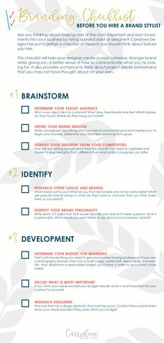 Branding Checklist before you hire a graphic designer or branding stylist
