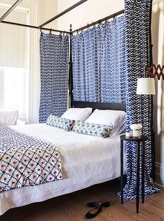 While eldest son Harrison was off at boarding school, Sara turned his room into a guest room. Roberta Roller Rabbit fabric that had previously served as kitchen curtains in New York now hang from the canopy. The colorful throw was found in a thrift store.